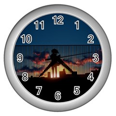 Art Sunset Anime Afternoon Wall Clocks (silver)