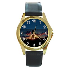 Art Sunset Anime Afternoon Round Gold Metal Watch