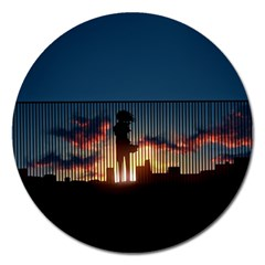 Art Sunset Anime Afternoon Magnet 5  (round)