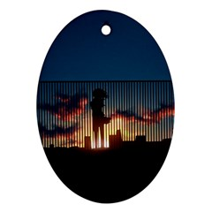 Art Sunset Anime Afternoon Oval Ornament (two Sides)
