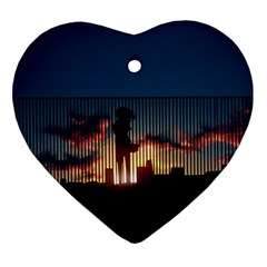 Art Sunset Anime Afternoon Heart Ornament (two Sides)