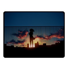 Art Sunset Anime Afternoon Double Sided Fleece Blanket (small)