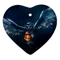 Owl And Fire Ball Ornament (heart)