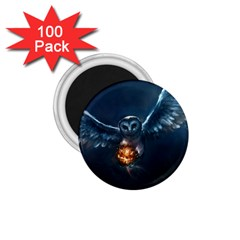 Owl And Fire Ball 1 75  Magnets (100 Pack)