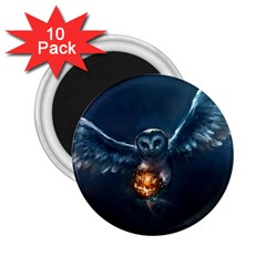 Owl And Fire Ball 2 25  Magnets (10 Pack)
