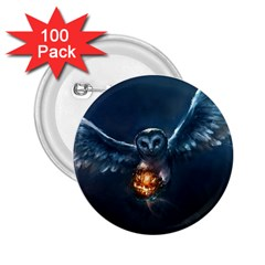Owl And Fire Ball 2 25  Buttons (100 Pack)