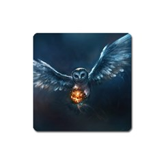 Owl And Fire Ball Square Magnet