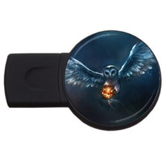 Owl And Fire Ball Usb Flash Drive Round (4 Gb)