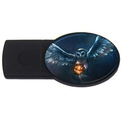 Owl And Fire Ball Usb Flash Drive Oval (4 Gb)