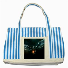Owl And Fire Ball Striped Blue Tote Bag