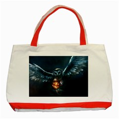 Owl And Fire Ball Classic Tote Bag (red)