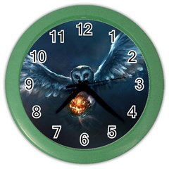Owl And Fire Ball Color Wall Clocks
