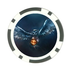 Owl And Fire Ball Poker Chip Card Guard