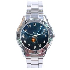 Owl And Fire Ball Stainless Steel Analogue Watch