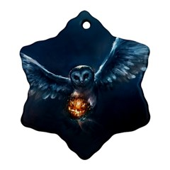 Owl And Fire Ball Ornament (snowflake)
