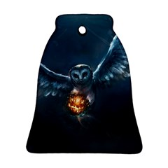 Owl And Fire Ball Bell Ornament (two Sides)