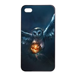 Owl And Fire Ball Apple Iphone 4/4s Seamless Case (black)