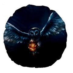 Owl And Fire Ball Large 18  Premium Round Cushions