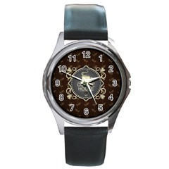Coffee House Round Metal Watch