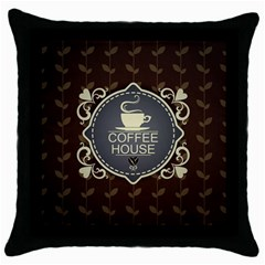 Coffee House Throw Pillow Case (black)
