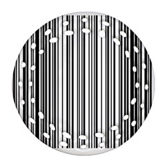 Barcode Pattern Round Filigree Ornament (two Sides)