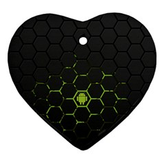 Green Android Honeycomb Gree Ornament (heart)