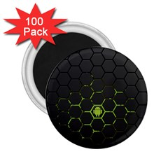 Green Android Honeycomb Gree 2 25  Magnets (100 Pack)