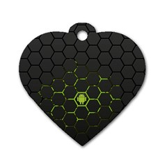Green Android Honeycomb Gree Dog Tag Heart (two Sides)