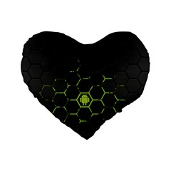 Green Android Honeycomb Gree Standard 16  Premium Heart Shape Cushions