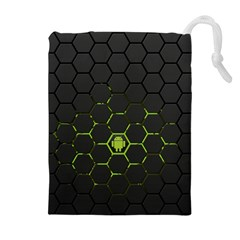 Green Android Honeycomb Gree Drawstring Pouches (extra Large)