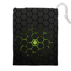 Green Android Honeycomb Gree Drawstring Pouches (xxl)