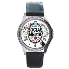 Social Media Computer Internet Typography Text Poster Round Metal Watch