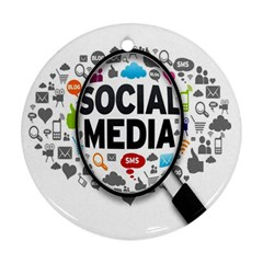 Social Media Computer Internet Typography Text Poster Ornament (round)