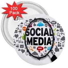 Social Media Computer Internet Typography Text Poster 3  Buttons (100 Pack)