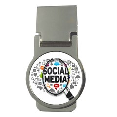 Social Media Computer Internet Typography Text Poster Money Clips (round)