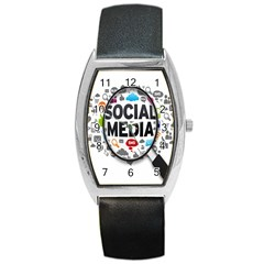 Social Media Computer Internet Typography Text Poster Barrel Style Metal Watch