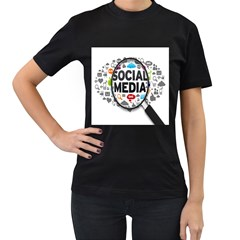 Social Media Computer Internet Typography Text Poster Women s T Shirt (black) (two Sided)