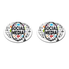 Social Media Computer Internet Typography Text Poster Cufflinks (oval)