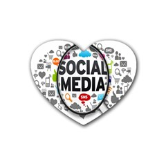 Social Media Computer Internet Typography Text Poster Heart Coaster (4 Pack)