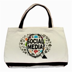 Social Media Computer Internet Typography Text Poster Basic Tote Bag (two Sides)