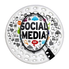 Social Media Computer Internet Typography Text Poster Ornament (round Filigree)
