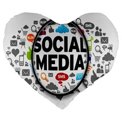 Social Media Computer Internet Typography Text Poster Large 19  Premium Heart Shape Cushions
