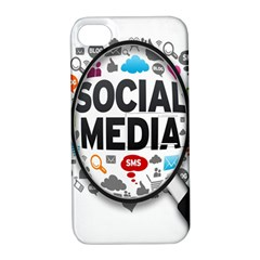 Social Media Computer Internet Typography Text Poster Apple Iphone 4/4s Hardshell Case With Stand