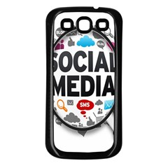Social Media Computer Internet Typography Text Poster Samsung Galaxy S3 Back Case (black)
