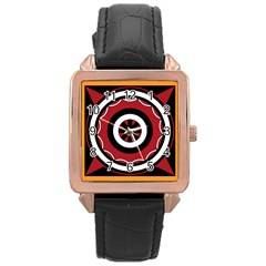 Toraja Pattern Pa barre Allo Rose Gold Leather Watch