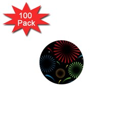 Fireworks With Star Vector 1  Mini Magnets (100 Pack)