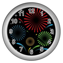 Fireworks With Star Vector Wall Clocks (silver)