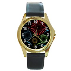 Fireworks With Star Vector Round Gold Metal Watch