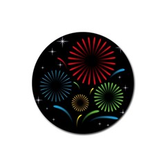 Fireworks With Star Vector Rubber Round Coaster (4 Pack)