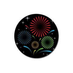 Fireworks With Star Vector Magnet 3  (round)